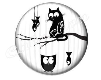 2 20mm glass cabochon, cabochon cat fish owl OWL silhouette, black and white tone