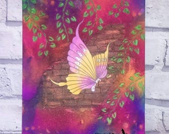Flutterby, Bright, Butterfly, Mixed Media, Canvas, Handcrafted, Texture, Decor, Colourful, Butterflies, Mixed Media Art,