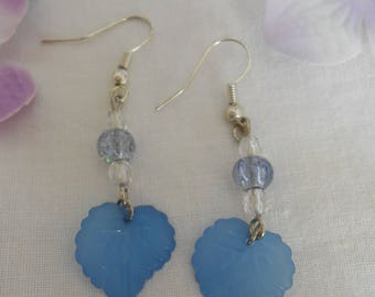 Pearls and 275 - blue leaf earrings