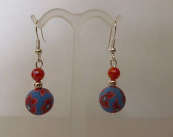 "Earrings ""red"" new beads"