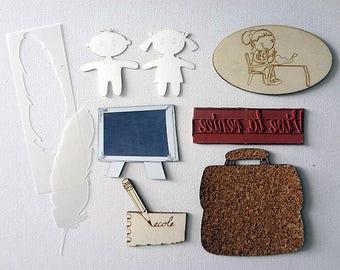 School envelope ENV1 embellishment wooden creations