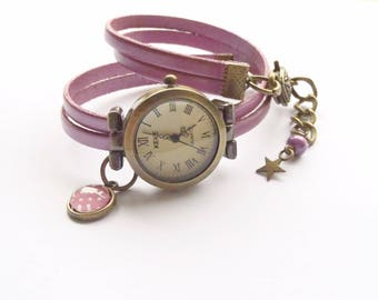 Wristwatch leather Pink mother-of-Pearl cabochon