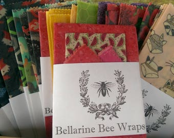 Handcrafted reusable beeswax food wrap - MEDIUM Twin pack