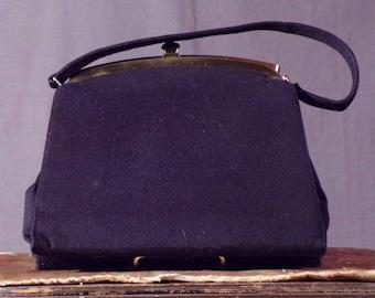 Vintage 1950s Purse. 50s Black Wool Purse by Crown Lewis.