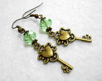 "Bronze earrings and beads ""Green yesteryear perfume of water and the heart key"""