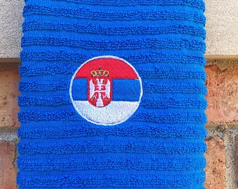 Kitchen towel | Serbia flag | Embroidered towel | Blue kitchen towel