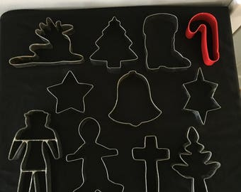 Eleven Vintage Metal Cookie Cutters Christmas