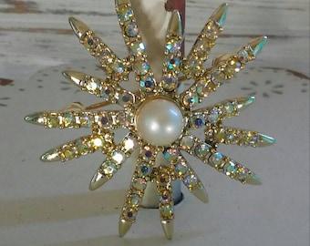 Vintage signed Emmons rhinestone star brooch