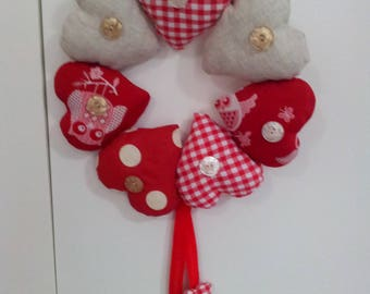 Christmas wreath with padded fabric hearts