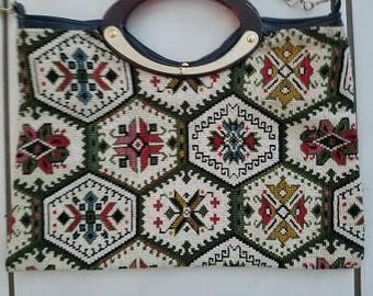 Vintage cross stitched purse with handle and strap. embroidered purse.