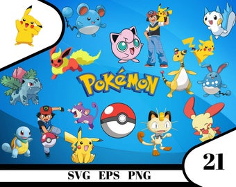 21 Pokemon Clipart – (svg, eps, dxf , png) Digital 300 PPI PNG, Vectorial images, Photos, Scrapbook, Digital, Cliparts