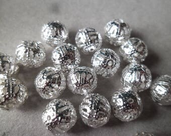 x 10 spacer beads 8 mm silver filigree ball