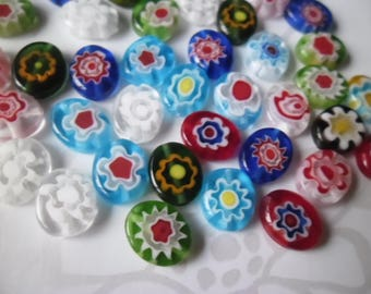 oval millefiori glass beads x 10 mixed multicolor flower 10 x 8 mm