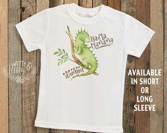 Hasta Mañana Iguana Kids Shirt, Funny Kids Shirt, Cute Boys Tee, Kids Animal Tee, Boho Boys Shirt, Cute Boys Shirt - T321H