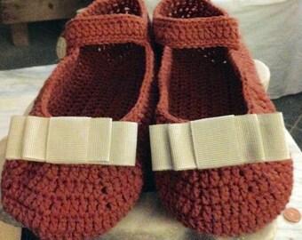 Orange wool bedroom slippers