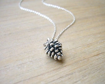 Pine Cone Necklace, Silver Pinecone Necklace, Silver Woodland, Minimalist Everyday Jewelry, Autumn Jewelry, Fall Jewelry, Bridesmaid Gift