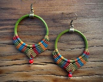 macrame earrings, leather earrings, gipsy boho style, coral beads, handcrafted earrings, apple green leather