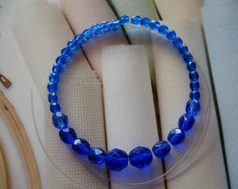 Bohemian beads sapphire blue faceted glass set of 36 beads jewelry creations