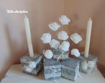 candle holder, pallet wood, handmade
