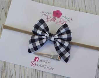 Baby Bow, Baby Headband, White Buffalo Check Sailor Bow, Breakaway Bow