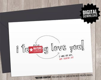 Funny Valentine Card. Printable Naughty Valentines Day Card Boyfriend, Girlfriend. I Love You. Dirty Sassy Rude Sarcastic Note for him - her