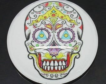 Pattern glass cabochon skull multicolor 25mm