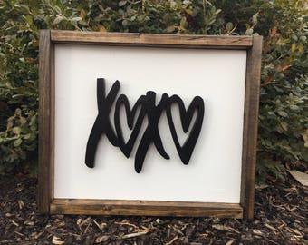 Valentine Farm Style Wood Framed Sign XOXO - Farm Style Wood Sign - Framed Wood Sign - Wood Lettering XOXO - Valentine Decor