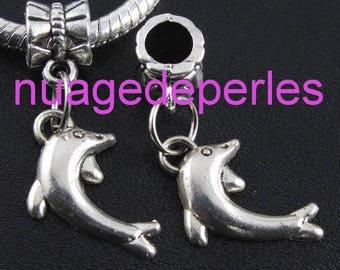 2 Tibetan silver bail on Dolphin pendants