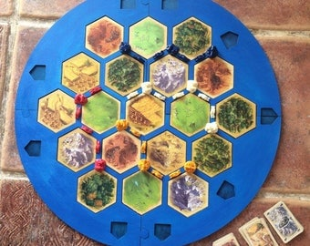 4 Player Settlers of Catan Frame Board | splits into 4 parts for storage Handmade. Wood, Laser Cut. Gift for gamer. In stock.
