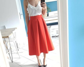 2 red high waist skirt midi lengths possible