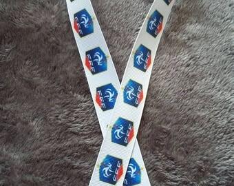 117 - Ribbon soccer - France - grosgrain - 22 mm sold by 50 CM - Soccer ribbon
