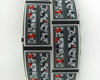 322 - Ribbon mickey and minnie - grosgrain - 25 mm sold by 50 CM - Mickey and minnie ribbon