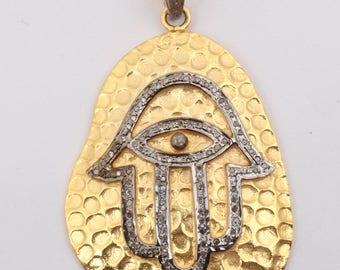 Pave Diamond Pendant, Diamond HANSA Pendant, HANSA Pendant, ,92.5 Silver Pendant With Diamond