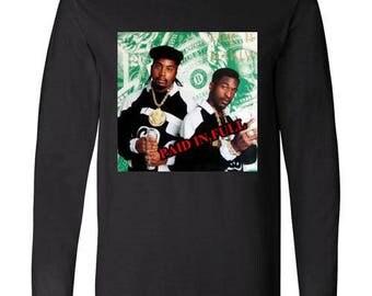 Old School Hip Hop Rap Shirt of Eric B and  Rakim Paid in Full Small to XXL black long sleeve