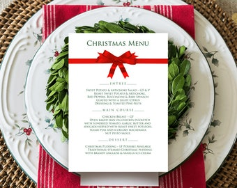 Elegant Menu Christmas Menu Red Ribbon Printable Menu Cards Christmas Party Menu Winter Holiday Menu Xmas Dinner Menu Template Editable PDF