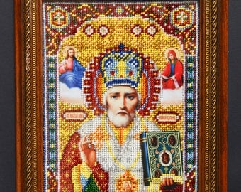 Nicholas the Wonderworker Handmade icon   Nicholas the Sinner   Religious icons Religious gift Bead patterns Embroidery