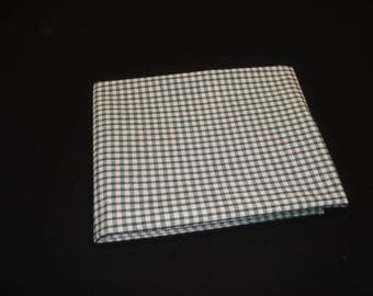 Green and white gingham cotton fabric