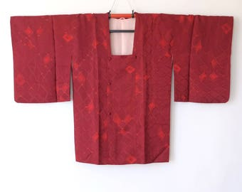 Japanese Silk Vintage Michiyuki Kimono Jacket Maroon Red K143