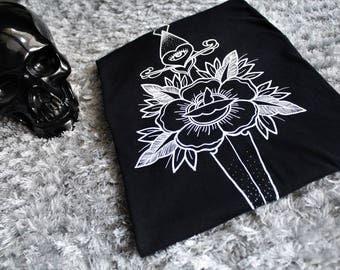 Men's Clothing ,Traditional Dagger n' Rose Design. Tshirt