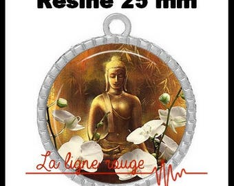 Round Cabochon 25 mm resin pendant, epoxy - among white orchids (856) Buddha - zen Buddhism, Buddha