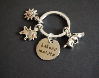 Hakuna Matata The Lion King inspired Keychain Keyring