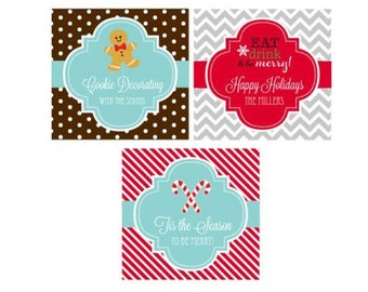 "Christmas Favor Labels Tags Custom Personalized 2"" Square Favor Stickers or Tags - Holiday Party Wedding - Set of 24 - MW19791"