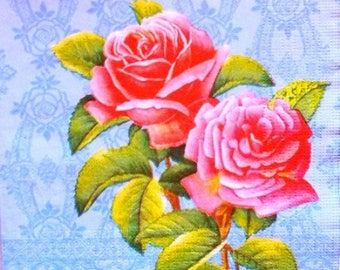 TOWEL in paper pink roses, blue #F121