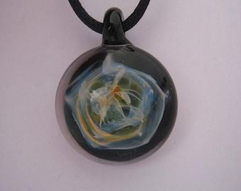 """""""Nebula"""" smoking 18 k gold and Silver 925 and borosilicate glass pendant"""