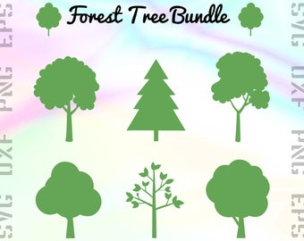 Forest Tree SVG Bundle, Tree Clipart Png Files, Tree Cut Files for Cutting Machines like Cricut or Silhouette, Svg, Dxf, Png, Eps Formats