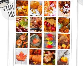 Printable Fall Watercolor Full Box Stickers, Erin Condren, Thanksgiving Box Stickers, Inspirational Planner stickers, ECLP, Life Planner