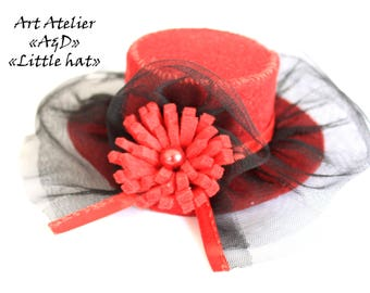 "Barrette ""Little Red Riding Hood"" decorative red felt"