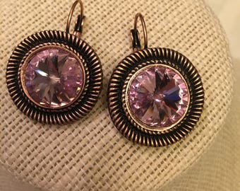 Large 14mm Swarovski stone earrings