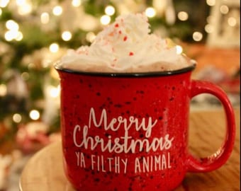 Merry Christmas Ya Filthy Animal // Christmas Mug // Secret Santa // Funny Gift // Christmas Present // Movie Quote Mug // Home Alone Quote