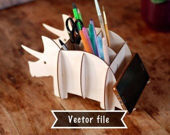 Dinosaur table organizer dxf, Table rack vector file, Pencil holder cutting file, Phone holder svg, 3D laser file, Brush holder vector dxf